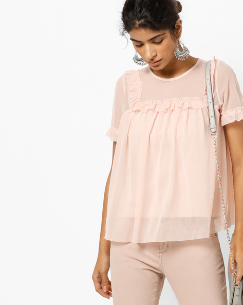 Mesh Top With Ruffles By Only ( Cream )