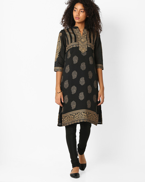 Printed Churidar Kurta With Dupatta By AVAASA SET ( Black )