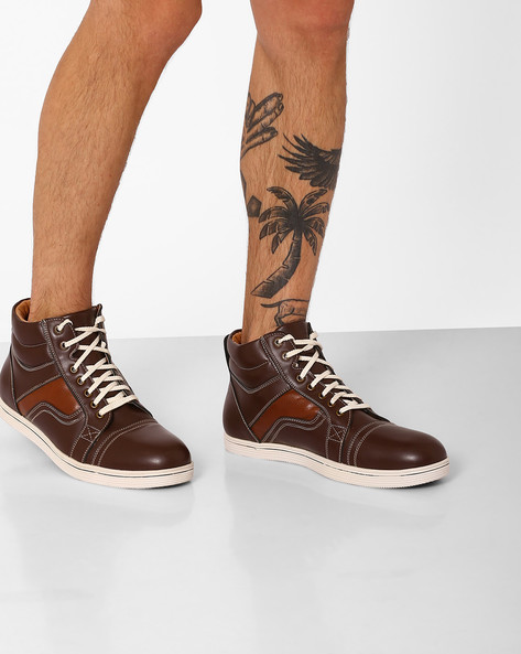 High-Top Lace-Up Casual Shoes By BUCKAROO ( Brown )