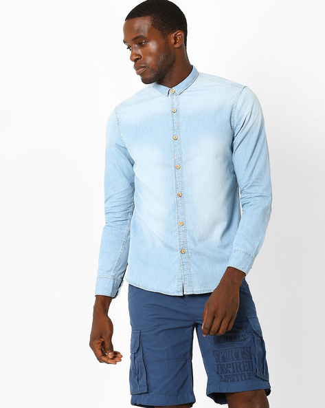 Bleached Denim Slim Fit Shirt