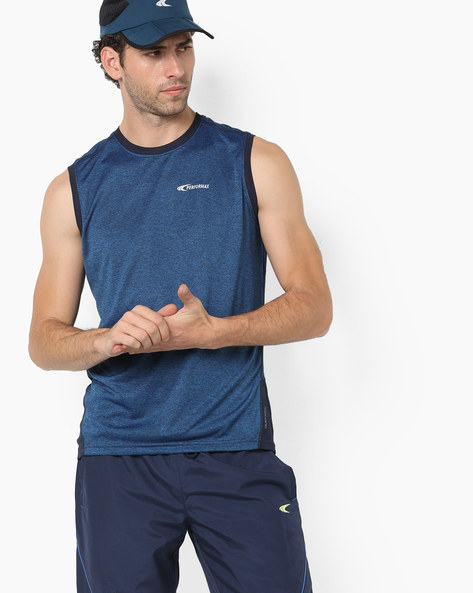 Heathered Sleeveless T-shirt With Contrast Panels By PERFORMAX ( Blue )