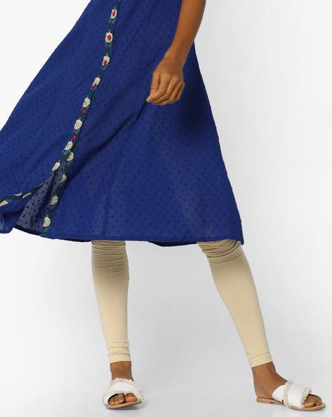 Mid-Rise Churidar Leggings By AJIO ( Beige )
