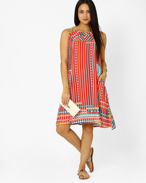 Printed Dress With Pockets By Global Desi ( Multi )