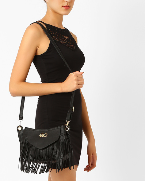 Fringed Sling Bag By E2O ( White )
