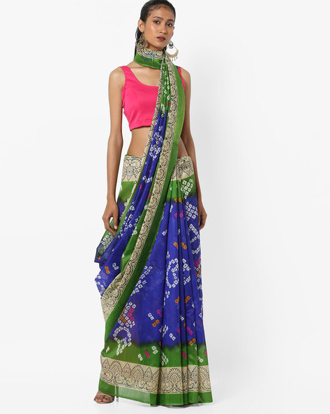 Printed Bhagalpuri Art Silk Saree With Blouse By Florence ( Blue )