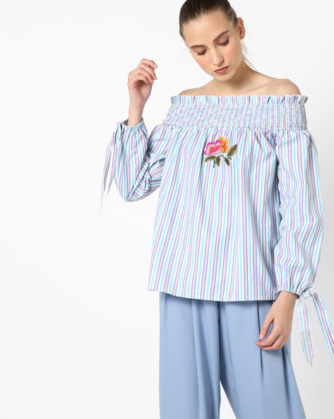 Off-Shoulder Top With Tie-Up By RI-DRESS ( Multi )