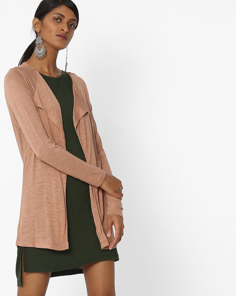 Open-Front Shrug With Slub Knit By Amari West ( Brown )