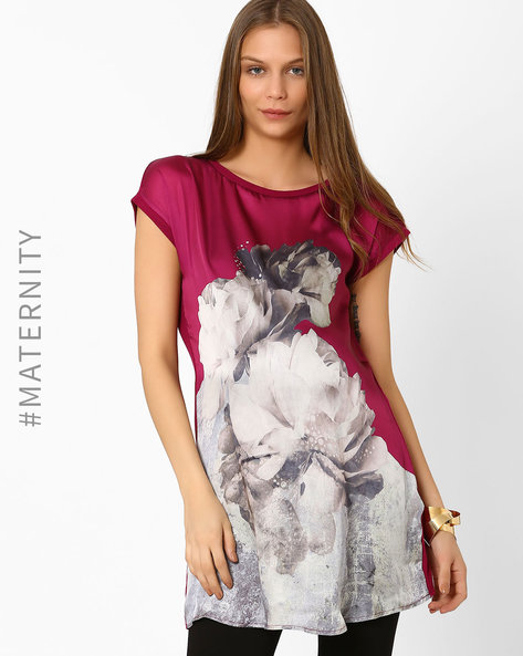 Floral Print Maternity Top By AJIO ( Purple )