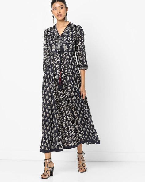 Floral Print Kurta With Tassel Detailing By Melange By Lifestyle ( Navy )