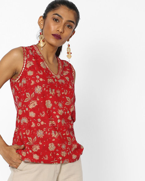 Floral Print Sleeveless Top By Biba ( Red )
