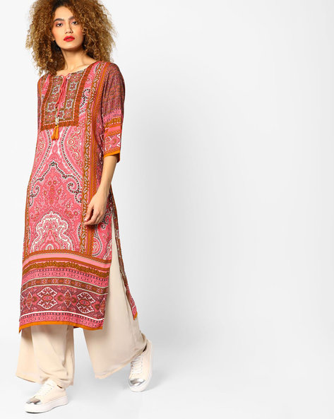 Printed Straight Kurta With Tie-Up By Shree ( Pink )