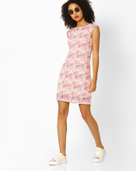 Striped Shift Dress With Floral Print By And ( Multi )