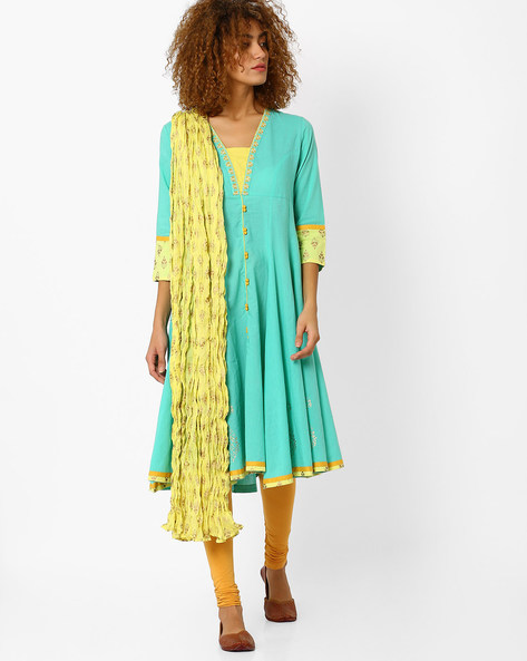 Anarkali Churidar Kurta With Dupatta By AJIO ( Mint )