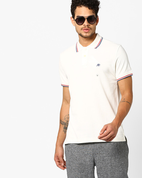 Polo T-shirt With Ribbed Hems By Aeropostale ( Cream )