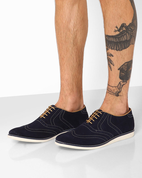 Low-Cut Brogue Casual Shoes By AJIO ( Navy )