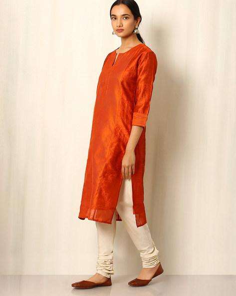 Chanderi Striped Straight Kurta By Indie Picks ( Rust )
