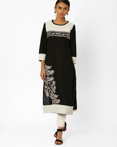 Straight Kurta With Floral Embroidery By Kifahari ( Black )
