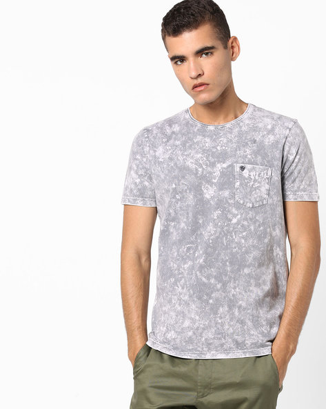 Crew-Neck T-shirt With Acid-Wash Effect By Killer ( Grey )