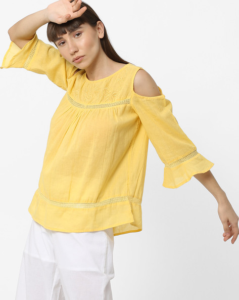 Cold-Shoulder Top With Embroidered Yoke By DNMX ( Yellow )