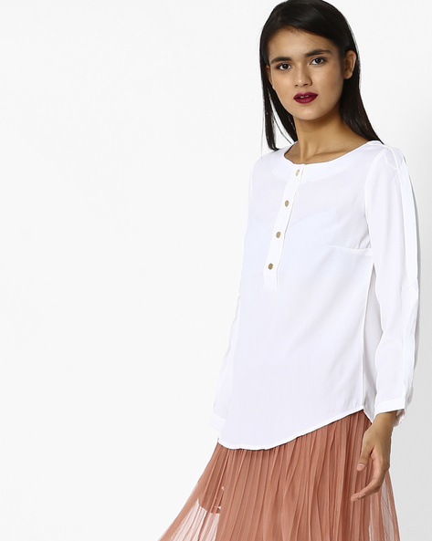 Woven Top With Short Button Placket By Project Eve WW Casual ( White )