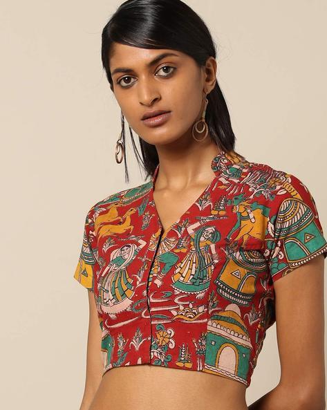 Kalamkari Print Cotton Front-Open Blouse By Molcha ( Multi )