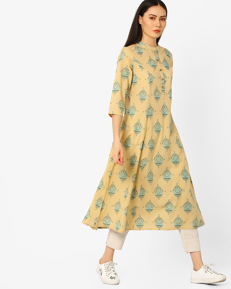 Printed Kurta With Mandarin Collar By AJIO ( Beige )