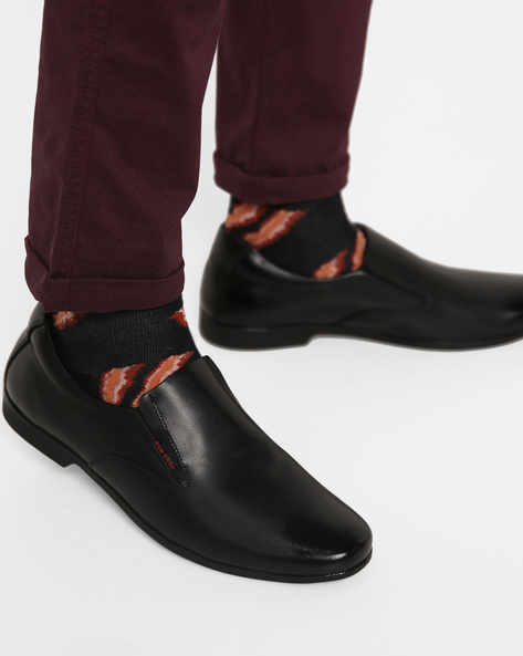 Leather Slip-On Shoes By RED CHIEF ( Black )