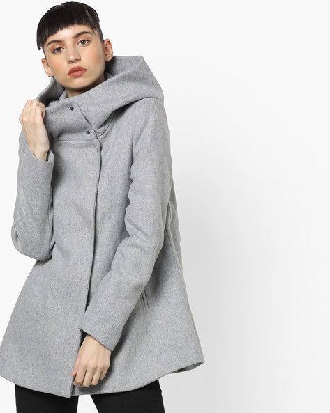 High-Neck Cape Jacket With Pockets By Vero Moda ( Greymelange )