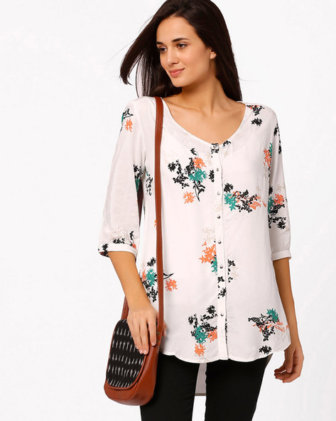 Floral Print Top By W ( White ) - 440655087007