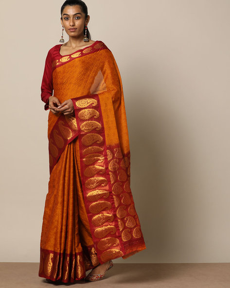 South Cotton Paisely Zari Border Saree With Rich Pallu By Indie Picks ( Mustard )