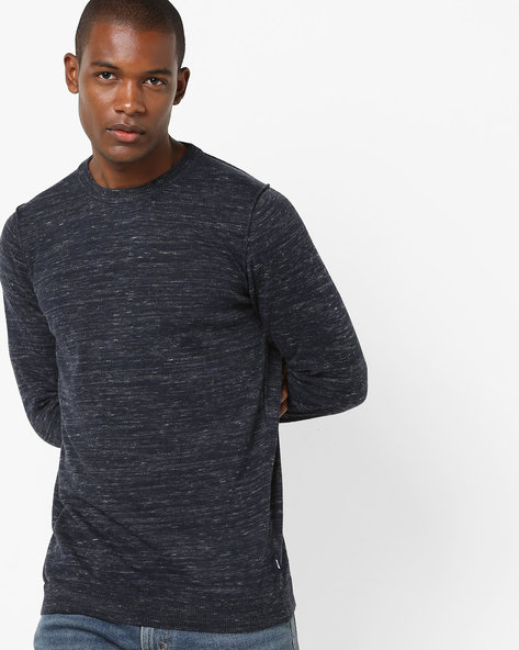Heathered Crew-Neck Sweatshirt With Ribbed Hems By Jack & Jones ( Blue )