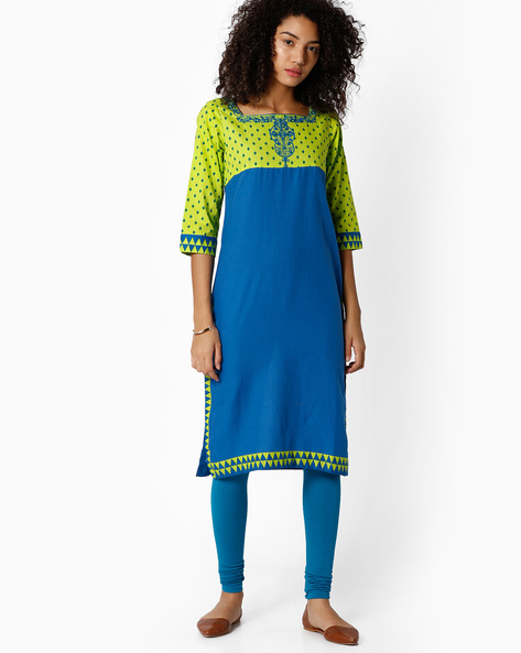 Straight Cotton Kurta By Rangriti ( Blue )