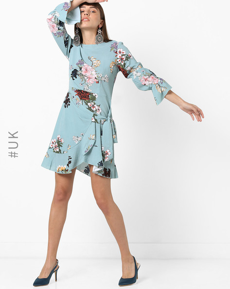 Floral Print Dress With Tie-Up By OEUVRE ( Blue )