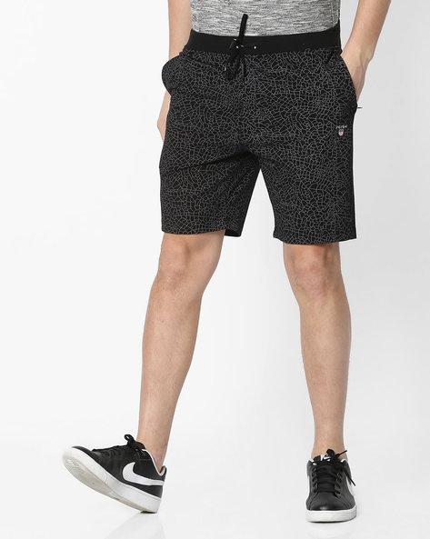 Geometric Print Cotton Shorts By Fort Collins ( Black )