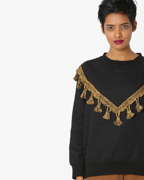 Jacquard Weave Top With Tassels By Rena Love ( Black )