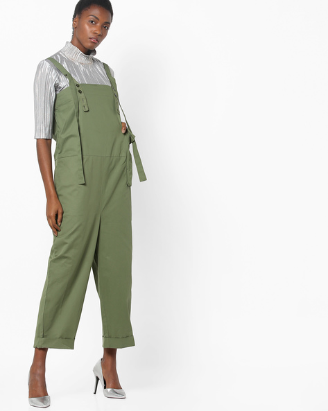 Twill Utility Strappy Jumpsuit By AJIO ( Olive )