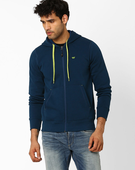 Hooded Sweatshirt With Front Zipper By Wildcraft ( Navyblue )