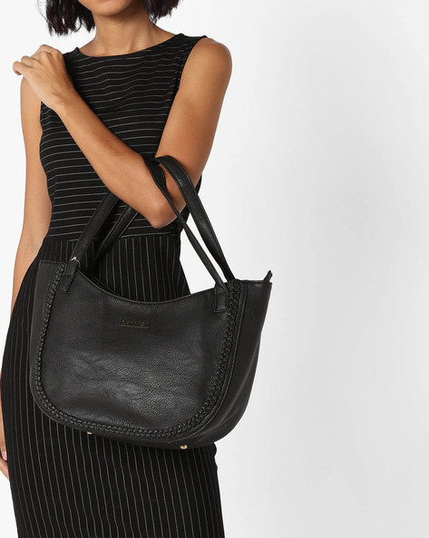 Tote Bag With Signature Branding By CAPRESE ( Black )