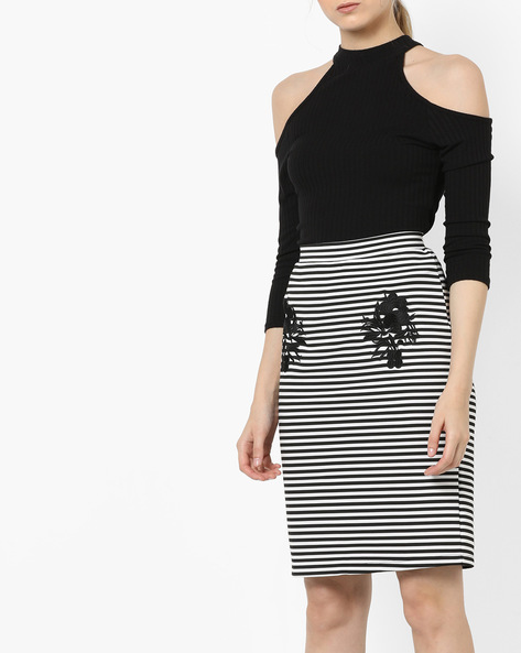 Striped Pencil Skirt With Embroidery By CODE By Lifestyle ( Black )
