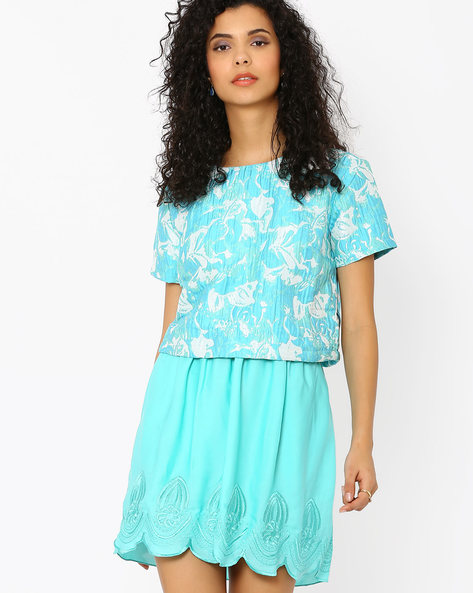 Jacquard Top With Zip Closure By AJIO ( Blue )