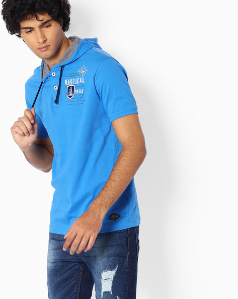 Regular Fit T-shirt With Hood By TEAM SPIRIT ( Blue )