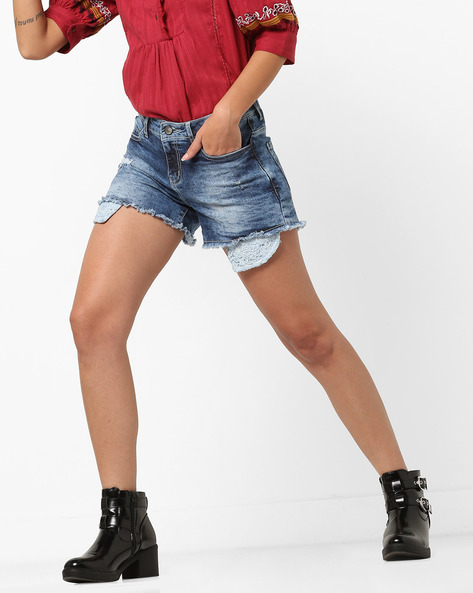 Distressed Mid-Wash Denim Shorts By AJIO ( Lightblue )