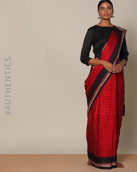 cf717be6f2c95 Kutch Bandhani Ajrak Pure Silk Gajji Saree By Indie Picks ( Fuchsia ...