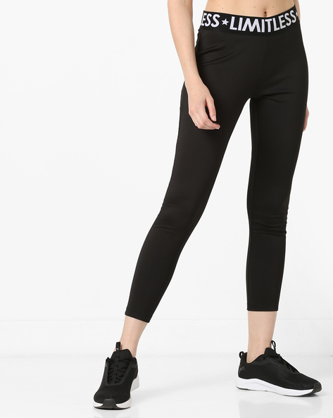 Mid-Rise Leggings With Contrast Waistband By AJIO ( Black )