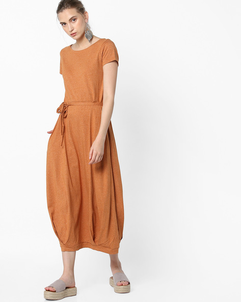 Textured Dress With Tie-Up By Project Eve WW Casual ( Orange )