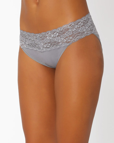 Cotton Panties With Lace By TRIUMPH ( Grey )