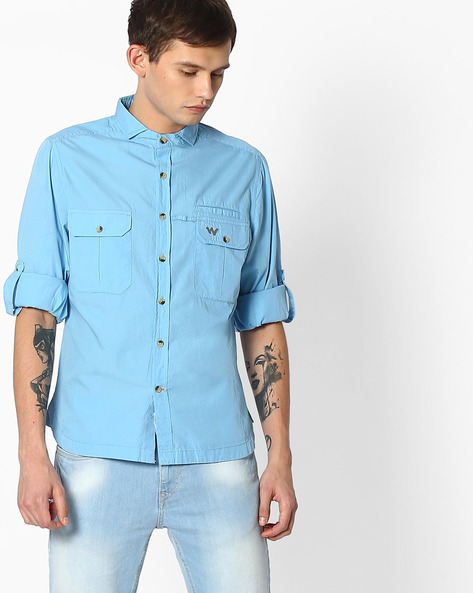 Regular Fit Shirt With Roll Tab Sleeves By Wildcraft ( Blue )