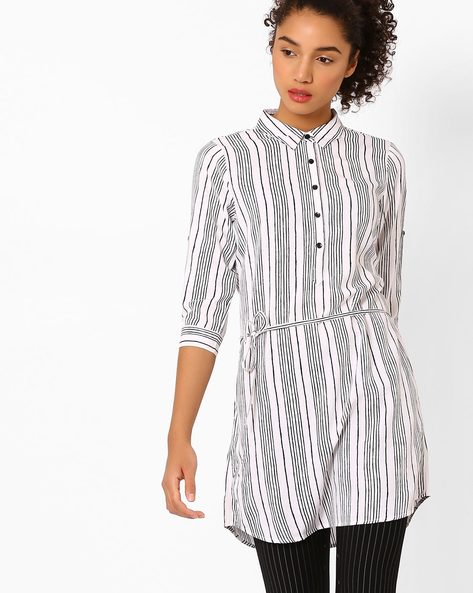 Striped Tunic With Curved Hemline By Fame Forever By Lifestyle ( White )