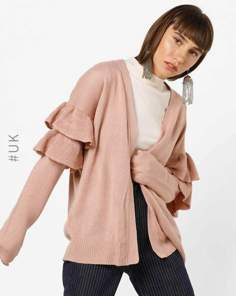 Open-Front Shrug With Tiered Panels By BRAVE SOUL ( Pink )