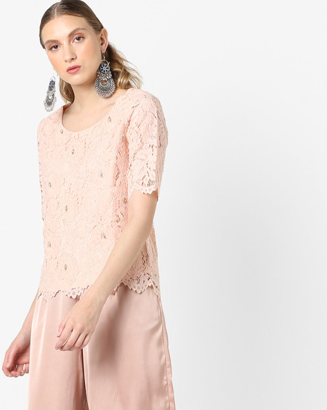 Embellished Round-Neck Lace Top By CODE By Lifestyle ( Pink )